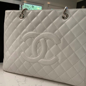 Chanel Grand Shopping Tote, White Caviar Leather